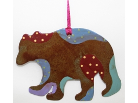 Bear Painted Ornament, Bear, Alaska, Christmas