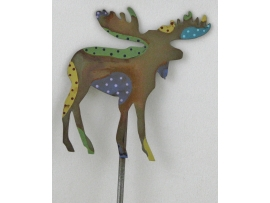 Moose Painted Plant Stick