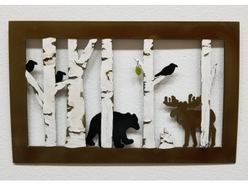 Birch Trees with Moose and Bear