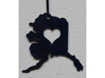 Alaska State w/heart Ornament